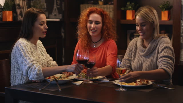 Young happy women toasting with wine during  lunch in the restaurant.