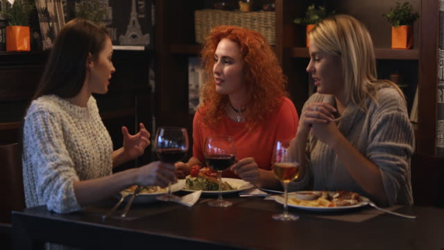 Young happy women toasting with wine while having lunch in a restaurant.