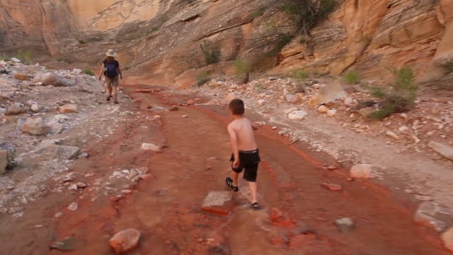 young hiker boy skips through river running through a rocky canyon with his mother and sister - recreational pursuit stock videos & royalty-free footage