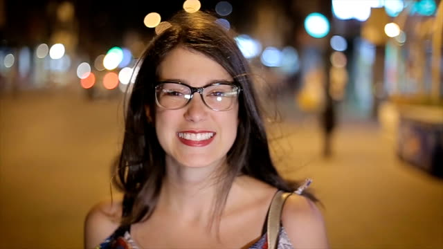 young hipster girl,portrait on the street at night,close up - eyeglasses stock videos & royalty-free footage
