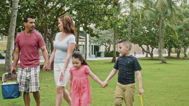 young hispanic family walking and talking in miami park for picnic - picnic stock videos & royalty-free footage