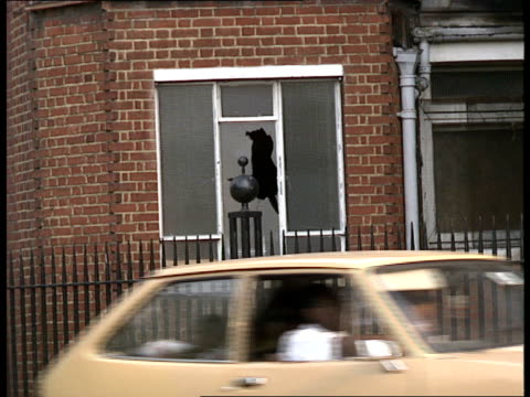 young homeless; itn england: london: nr waterloo: ext gvs former belgrave hospital for children, now derelict / broken windows / sign 'the squat'... - collection stock videos & royalty-free footage