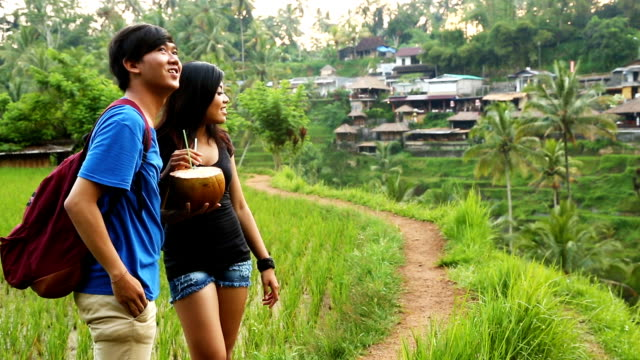 young indonesian couple amazed by bali terraced rice fields scenery hd - indonesian ethnicity stock videos & royalty-free footage