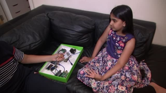 young inventor mihika sharma wins bt technology award for 'smart stick' mobility aid england london int close shot of electronics mihika sharma and... - industry stock videos & royalty-free footage