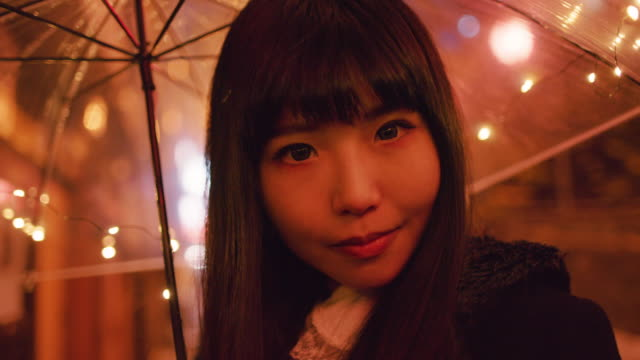 CU A young Japanese woman in Shibuya / Tokyo, Japan