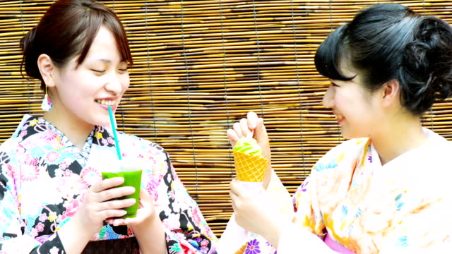 young japanese woman in yukata - green tea ice cream stock videos and b-roll footage