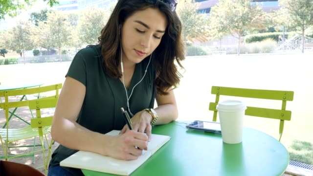 young journalist focuses as she writes notes in public park - diary stock videos & royalty-free footage