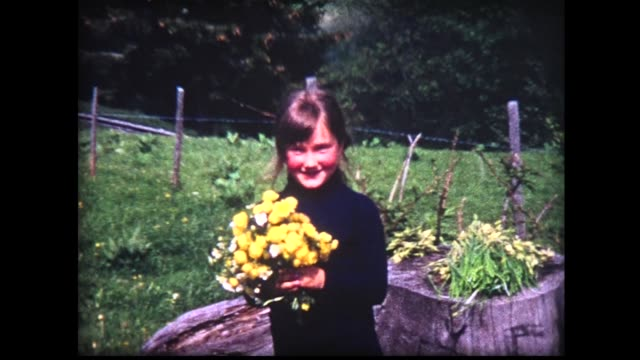 1964 young lady holds yellow flowers in alpine setting - only girls stock videos and b-roll footage