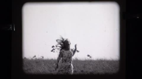 1968 young lady runs toward camera, experimental - frauenrechte stock-videos und b-roll-filmmaterial