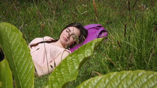 young latina woman relaxes in green meadow, with backpack - grass family stock videos & royalty-free footage