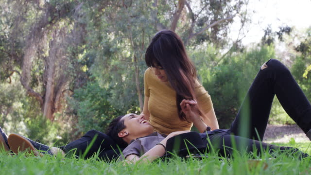 a young lesbian couple is going for a walk and sitting in the grass in the park - lesbiche video stock e b–roll