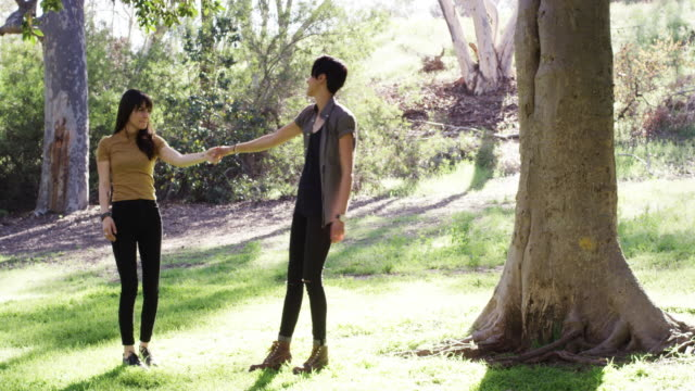 A young lesbian couple is going for a walk and sitting in the grass in the park