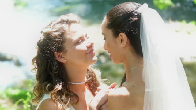 young lesbian couple kissing at wedding - just married stock videos and b-roll footage