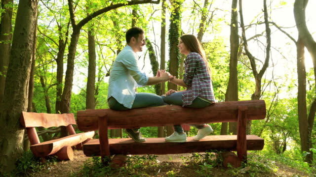 young loving couple  communicating while relaxing on a bench in nature. - panchina video stock e b–roll