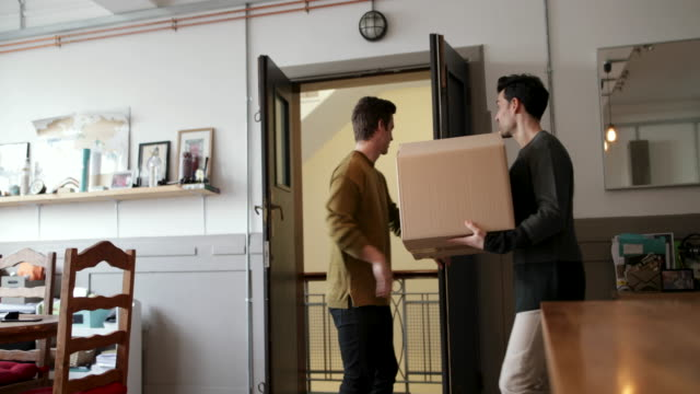 Young male couple moving in together