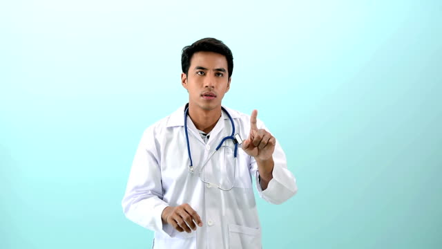 young male doctor pointing with touch screen - medical research stock videos & royalty-free footage