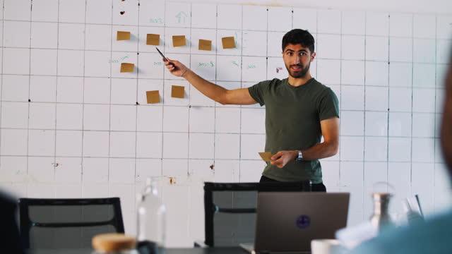 vidéos et rushes de young male entrepreneur explaining business strategy to colleagues over sticky notes in coworking office - petit groupe de personnes