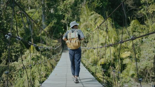 vídeos de stock e filmes b-roll de young male explorer walking on rope bridge in forest - ponte suspensa