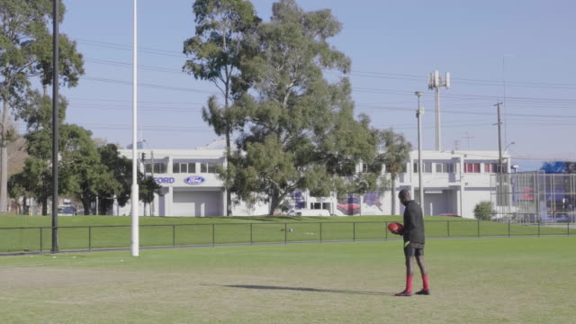 young male practising kicking a football - pitch stock videos & royalty-free footage