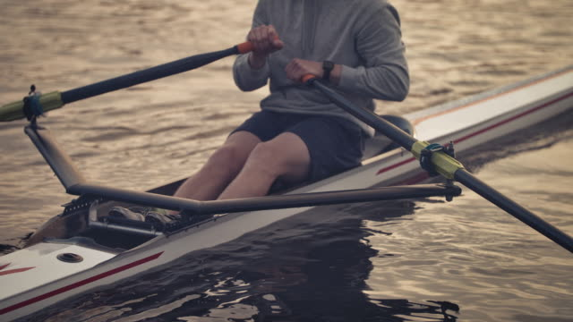 young male rowing boat in river at sunset - sculling video stock e b–roll
