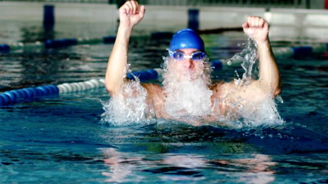 vidéos et rushes de jeune homme natation acclamations de la piscine - seulement des adultes