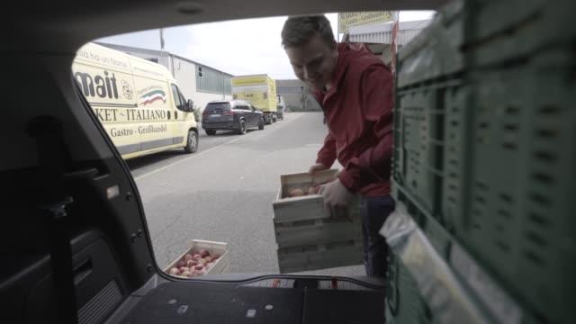 junger mann und frau laden obst und gemüse in der rückseite des autos - behälter stock-videos und b-roll-filmmaterial