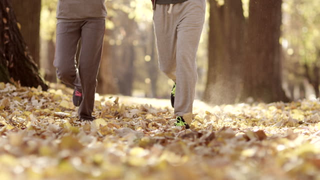 young man and woman running in the park - human limb stock videos & royalty-free footage