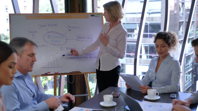 young man asking female business leader something while she points at the white board during a meeting at the office - business strategy stock videos & royalty-free footage