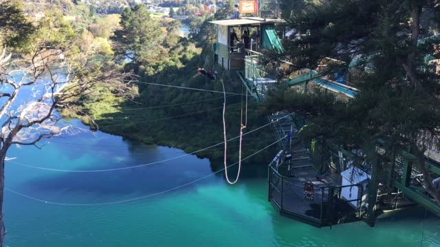 young man bungy jump in tapou new zealand - upside down stock videos and b-roll footage