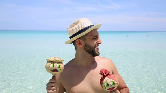 young man dancing on the beach - cuba stock videos & royalty-free footage