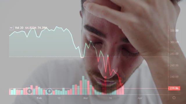 young man depressed because economy uncertainty after covid-19 coronavirus crisis. actual stock market chart during march 2020 composition - arbeitslosigkeit stock-videos und b-roll-filmmaterial