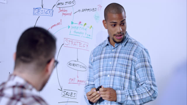Young man discussing the strategy on whiteboard