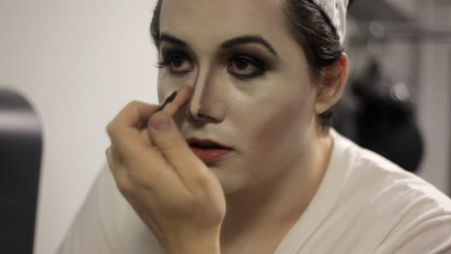 cu young man dressing up and applying makeup to impersonate michael jackson  / minneapolis, minnesota, united states  - michael jackson stock videos and b-roll footage