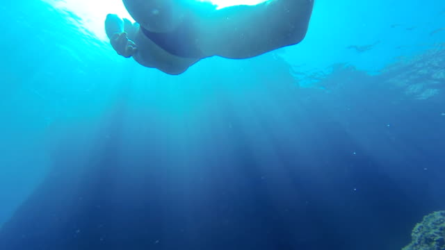 SLO MO Young Man Freediving
