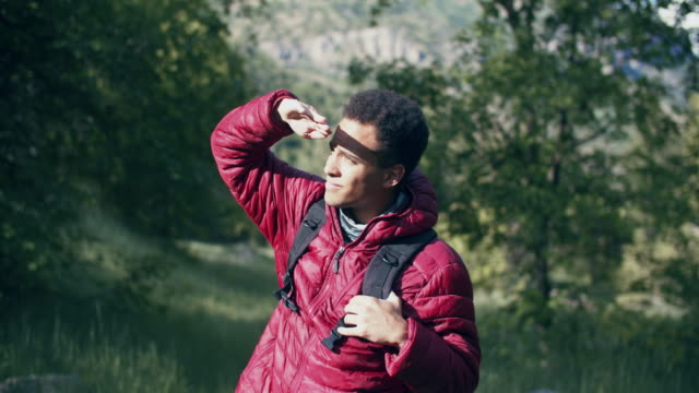 young man hiking in the mountains - nur junge männer stock-videos und b-roll-filmmaterial