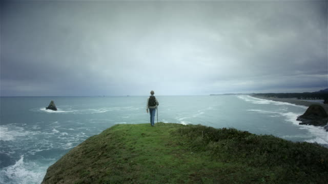 young man hiking trail on pacific ocean - oregon coast stock videos & royalty-free footage