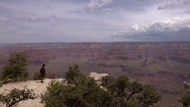 ws young man hking along the grand canyon national park south rim - grand canyon stock videos & royalty-free footage