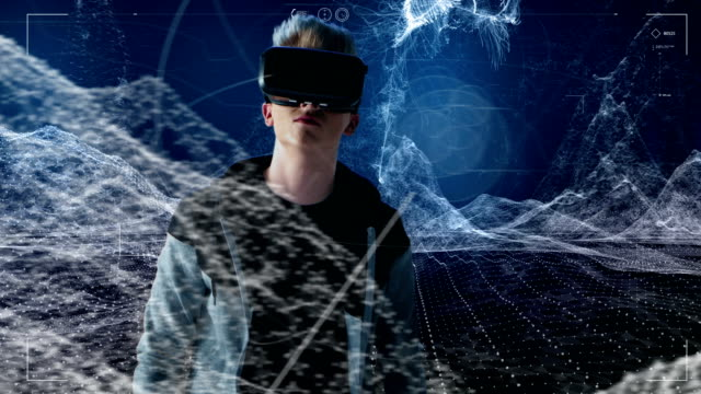 Young man in digital world. Exploring virtual reality