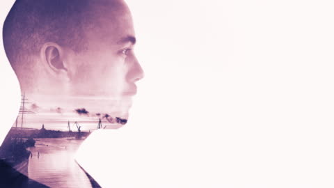 young man in double exposure - profile stock videos & royalty-free footage