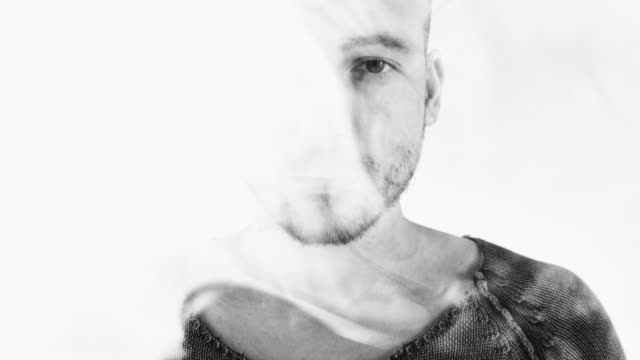 young man in smoke double exposure - cut out stock videos & royalty-free footage