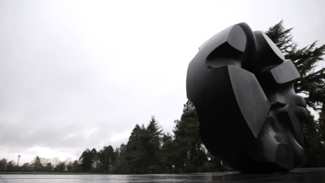 ws young man jogging in park near different sculpture  / seattle, washington, usa - solo uomini giovani video stock e b–roll