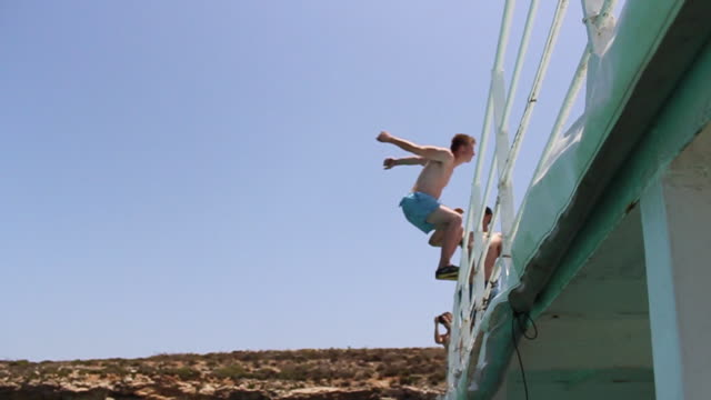 A young man jumping off a boat and doing a backflip in Malta. - Slow Motion - Model Released - HD