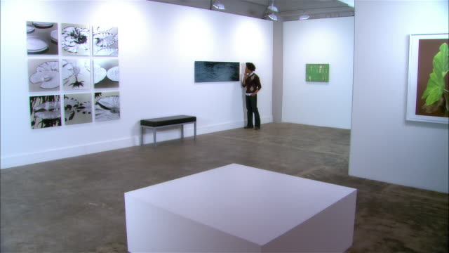young man looking exhibition of contemporary art / another young man entering gallery and looking at art - inside of video stock e b–roll