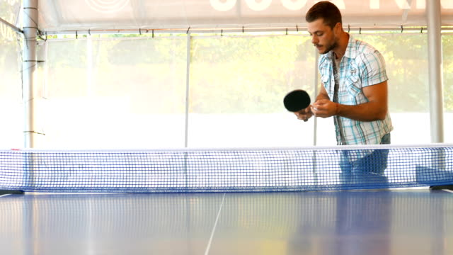 young man losing a point from service in a table tennis game - table tennis bat stock videos & royalty-free footage
