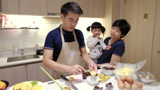 Young man Make a sweet food with Family