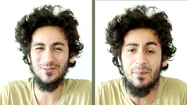 若い男性の顔の表現を