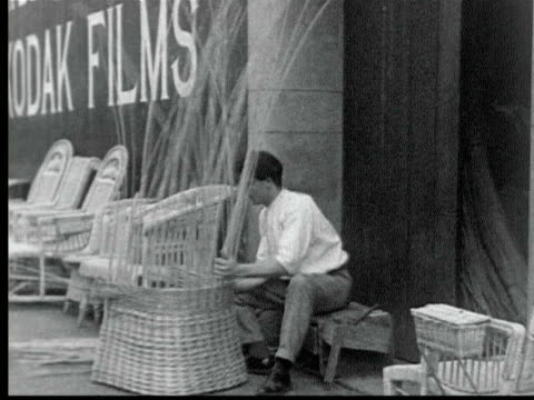 young man making wicker chair / funchal, madeira - anno 1925 video stock e b–roll