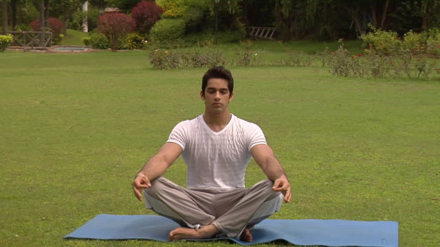 zi, cu, young man meditating in park, chattarpur, new delhi, india - schneidersitz stock-videos und b-roll-filmmaterial