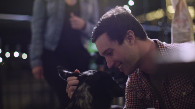 stockvideo's en b-roll-footage met ms slo mo. young man nuzzles and pets dog sweetly at house party. - eskimokus geven