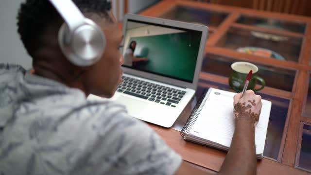 ung man på video klass studerar hemma - universitetsstudent bildbanksvideor och videomaterial från bakom kulisserna